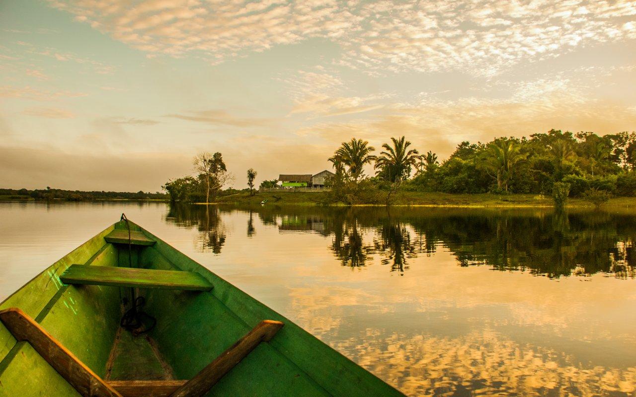 Lever de soleil sur l'Amazonie au Brésil