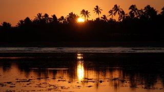 Coucher de soleil sur Praia do Forte au Brésil