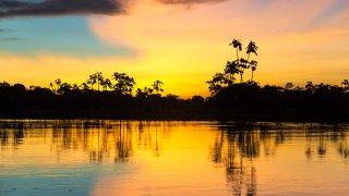 Coucher de soleil sur l'Amazonie au Brésil